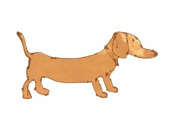 DACHSHUND PRINT, Sausage Dog Art, Cute Dog Print, Signed Dog Wall Decor, Doggie Drawing, Fudge Caramel Tan Brown Dog Sketch, Clare Caulfield
