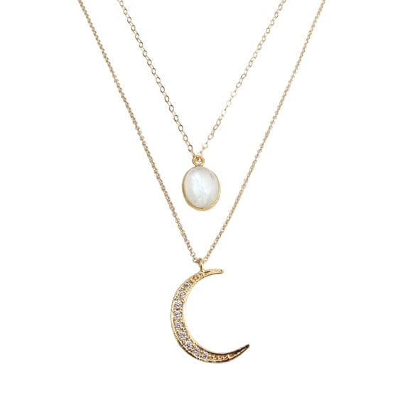 Lunar Moonstone Layer Necklace