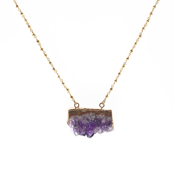 Raw Amethyst Necklace, Amethyst Pendant, Amethyst Geode Necklace, Gold Amethyst Slice Necklace, 14k Gold Chain, Gold Satellite Chain, Dainty