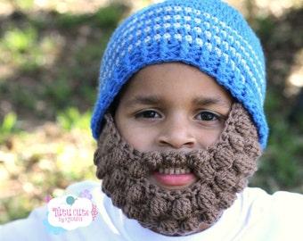 Custom Beard Crochet Hat, Bobble beard hat, Baby beard hat, Infant beard hat, Sizes from 0-3 months to Large Adults, Winter hat, Boy Girl