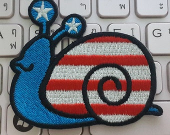Snail Iron on Patch - Snail USA Flag Color Applique Embroidered Iron on Patch