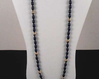 """Women's Beaded Necklace - Gold and Blue Beads - 14"""" Drop - Vintage 1970s - Free US Shipping"""