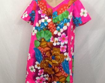 Florescent Hawaiian Print Dress / Bright Print / Floral Print / Summer Dress