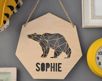 Personalised Geometric Bear Sign (GA06)