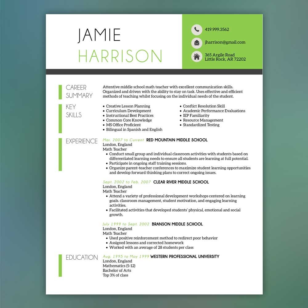 Teacher Resume Template Resume With Free Cover By