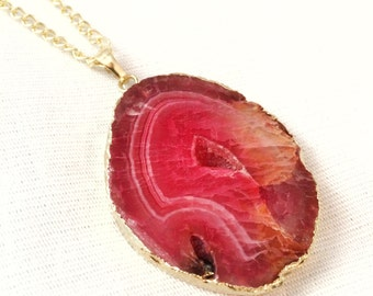 Red Agate Slice Necklace