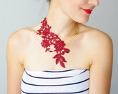 Lasata Statement Necklace Burgundy Necklace Lace Necklace Lace Fashion Floral Necklace Women Accessory Gift For Her Woman Fashion