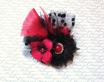 NEW:  Black and Red Feathered Chiffon Hair Accessory, Newborn Headband, Baby Headband, Girl Headband, Womans Hair Accessory, Brooch,