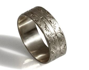 14k white gold wedding band ,Art Deco wide Wedding Band, Art Deco engravings men's wedding ring, gold band, hand engraved patterned men band