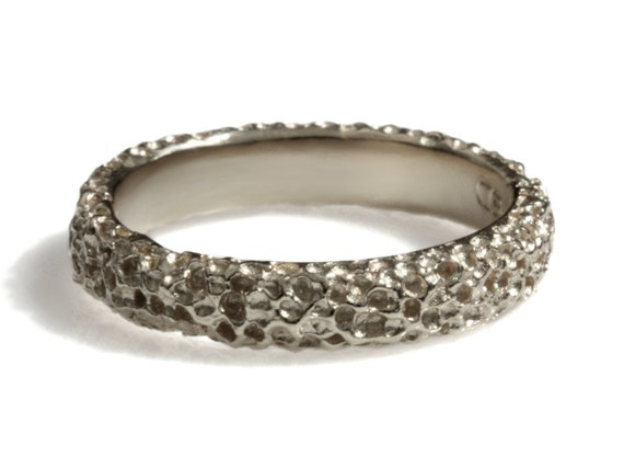 Thick Textured Wedding Band Rustic White Gold Band Men 39 S