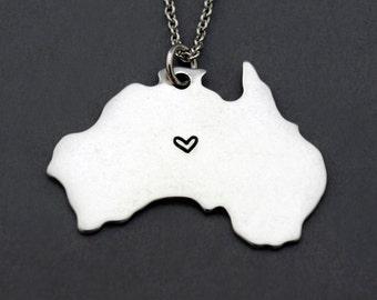 Australia map necklace, Australia map charm, Australia Silhouette necklace, Long Distance Relationship, Best friends necklace