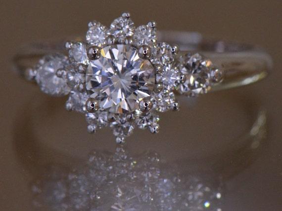 Flower Shaped Diamond Engagement Ring 14K White Gold