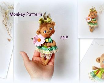 Monkey Toy Sewing Pattern,Soft Doll PATTERN, PDF, Cloth Doll Pattern,doll pattern,monkey pattern
