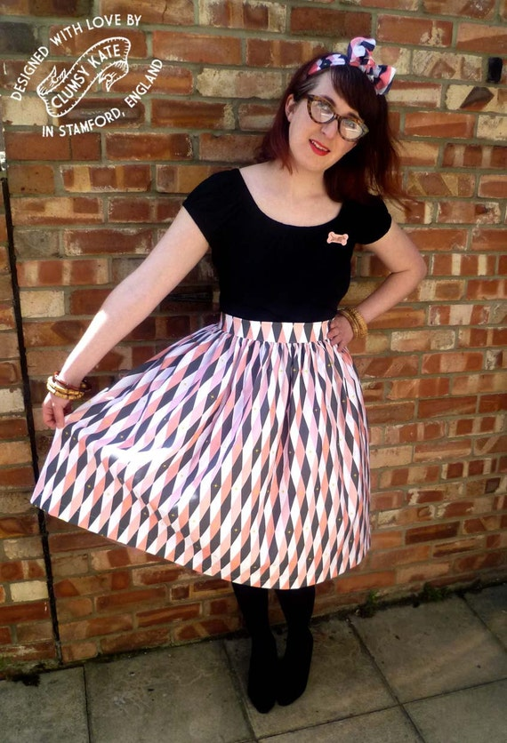 Atomic Harlequin Print Skirt - 50s style - Made To Order