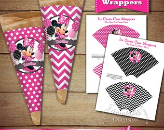 Minnie Mouse Ice Cream Cone Wrappers - Sugar Cone Wrappers - Ice Cream Party - Pink Chevron Pink Polka Dot - DIY Printable