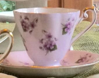 ROYAL STANDARD Fine Bone China Violet Tea Cup and Saucer