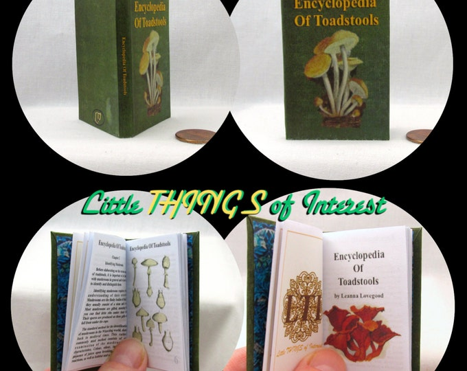 ENCYCLOPEDIA Of TOADSTOOLS Illustrated Book in 1:3 Scale Readable Spell Book Harry Potter Magic Textbook American Girl  18 inch Ag Doll 1/3