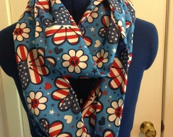 Americana Blue Hippy Loop Scarf