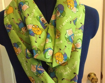 Adventure Time Fin and Jake Green Infinity Scarf