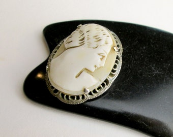 Vintage Cameo, Art Deco Pin, 20s Filigree Pin, Sterling Silver Brooch, Shell Cameo Pin/Brooch, Hand Carved, Italy.