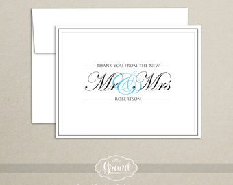 Personalized Wedding Thank You Cards - New Mr and Mrs (Set of 10)