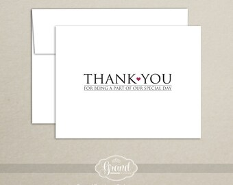 Wedding Thank You Card - Thank You for Being A Part of Our Special Day - Wedding Vendor - Planner - Florist - DJ - Band - Caterer
