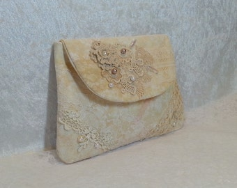 Ivory Bridal Clutch - Bridesmaid Clutch - Ivory Shabby Chic Lace Clutch - Ivory Lace Wallet - Small Lace Hand Bag - Lace Make Up Bag