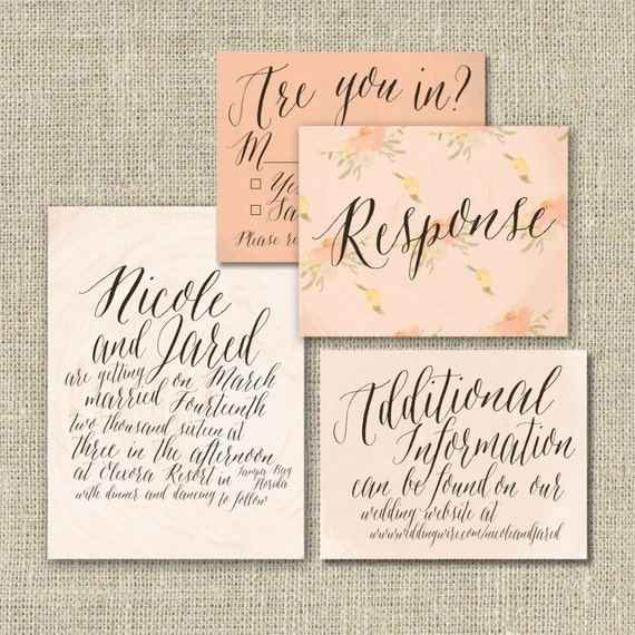 Watercolor calligraphy wedding invitation suite by