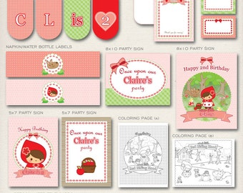 Little Red Riding Hood | PERSONALIZED Printable Party Decor | COMPLETE Decoration Package | Digital Supplies