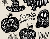 Halloween Clip Art Graphics // Hand Lettering // Photo Overlays PNG PSD Vector // Pumpkin Witch Ghost // Instant Download // Commercial Use