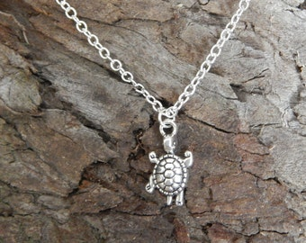 Silver Turtle Pendant, Turtle Necklace, Sea Turtle Charm Necklace, Tiny Turtle, Summer Necklace