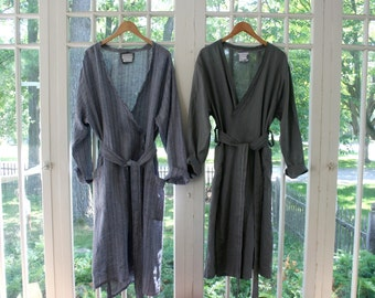 Pair of Unisex Linen Robes / His & Hers Washed Linen Shawl Collar Robes / by Breathe Clothing