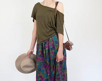 Floral maxi skirt, vintage women skirt, purple, medium, large, M/L
