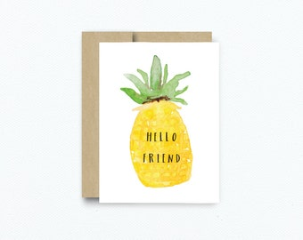 Thank You Card. Blank Card. Pineapple Print Greeting Card. Blank Thank You Just Because Card. Card for Friend. Pineapple Card #241