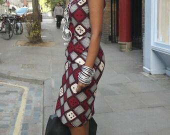SALE - African Tribal Print Sleeveless Shift Dress - 50% off