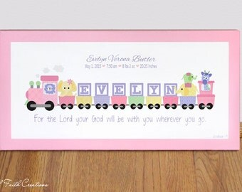 Pink train etsy canvas print personalized wall art decor for nursery 10 x 20 girls pink negle Gallery