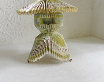 Origami Pagoda Folded Paper Souvenir Japan Asian Art Matchstick Rare