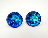 Vintage Peacock Blue Rhinestone Earrings, Large Round Blue Rhinestone Earrings, Blue Earrings, Wedding Bridal Jewelry