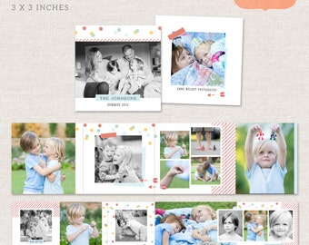 Neutral 3x3 Mini Accordion Album Template - Family neutral album template for photographers MA008 - INSTANT DOWNLOAD
