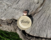 The word Family Medium Sized Glass Necklace - Original and Unique Gift, Different Colors. Wife, Girlfriend, Bride, Mother. Pin It!