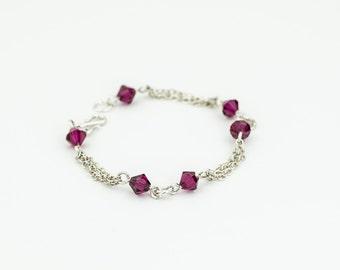 Red Crystal Bracelet, Ruby Red Jewelry, Silver Crystal Bracelet, July Birthstone, Sterling Silver Chain Bracelet, Birthday Jewelry