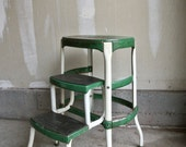 Vintage Green Cosco Stool - Vintage Stepping Stool - Green Cosco - Adjustable Chair - Vintage Kitchen Stool - Industrial Stool - Farm House