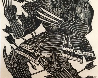 Samurai Wolverine Linoblock Print