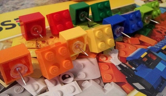 Set of 6 or 12 LEGO® Brick Push Pins by NoLoGlass on Etsy