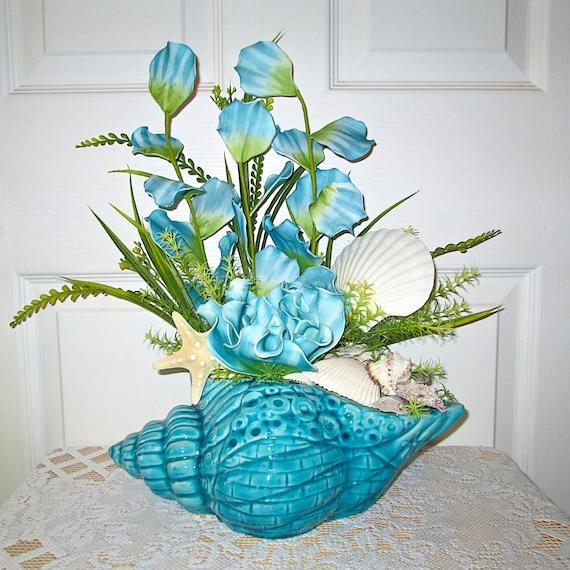 Aqua sea shell flower arrangement home decor floral for Flower arrangements decorations home