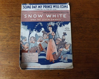 Snow White Sheet Music 'Some Day My Prince Will Come'  ~ Walt Disney