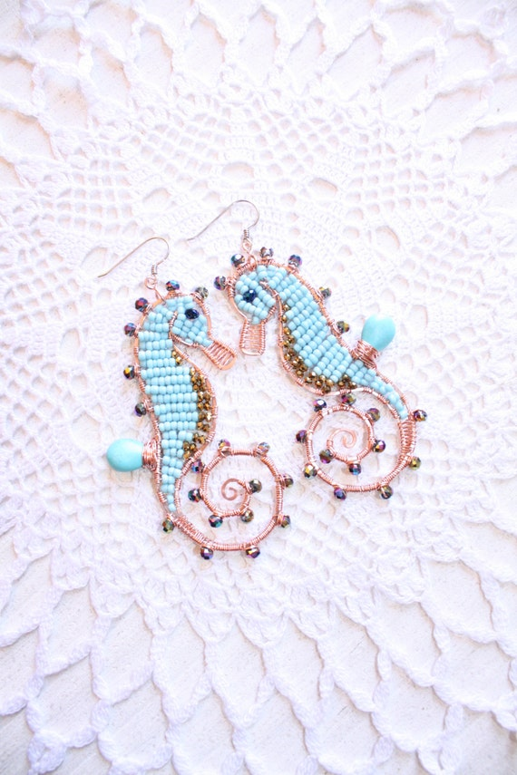 Turquoise Seahorse Wire Wrapped Earrings Marine Animals