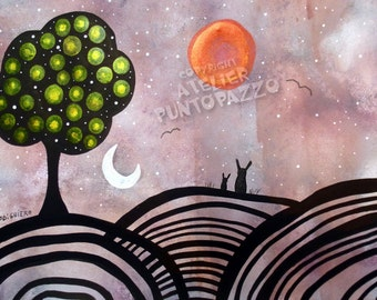 Original landscape drawing,romantic artwork on paper-whimsical wall art,pet lovers gift,Acrylic paint & watercolors,sunset,moon art,folk art