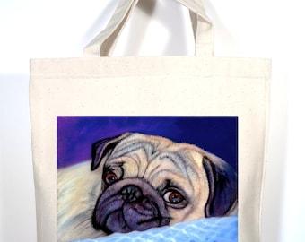 Pug Tote, Pug Tote Bag, Pug Gift, Pug Shopping Bag, Pug Book Bag