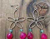 Sterling Silver Flower Earrings / Hot Pink Chalcedony Earrings / Apatite Earrings / Bohemian Earrings